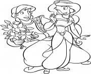 aladdin propose des fleurs roses pour princesse jasmine dessin à colorier
