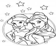 les princesses Jasmine dans Aladdin et Belle et la bete dessin à colorier