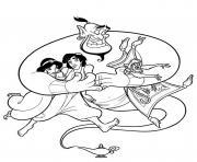 Aladdin Jasmine et le Magicien dessin à colorier