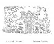Adulte Fairy House From World Of Flowers dessin à colorier