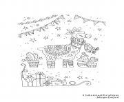 Adulte Noel Llama Adulte Par Johanna Basford dessin à colorier