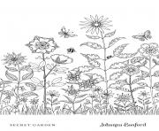 Flower Meadow From Secret Garden dessin à colorier