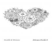 Adulte Floral Heart From World Of Flowers dessin à colorier