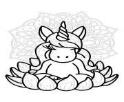 mandala licorne zen dessin à colorier