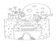 gateau anniversaire licorne avec chateau licorne dessin à colorier