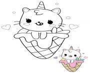 Sirene de chat licorne kawaii avec creme glacee dessin à colorier
