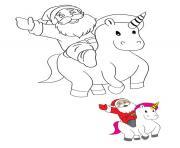 le pere noel sur une licorne pour distribuer des cadeaux dessin à colorier