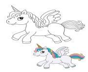 licorne cheval avec des cheveux colores dessin à colorier