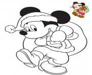 mickey mouse joue au pere noel avec le sac de cadeaux dessin à colorier