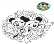 mickey et minnie preparent les fetes de fin dannee dessin à colorier