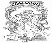 jasmine aladin princesse disney adulte dessin à colorier