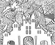 chateau de la fee de disney adulte dessin à colorier