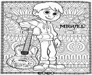 disney  adulte mandala coco miguel dessin à colorier