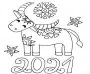 nouvel an chinois 2021 boeuf dessin à colorier