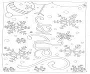 janvier flocon de neiges bonhomme de neige dessin à colorier