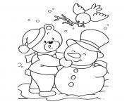 Janvier bonhomme de neige maternelle dessin à colorier