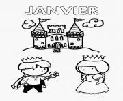 janvier chateau prince et princesse dessin à colorier