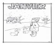 janvier hiver lapin pour gs dessin à colorier