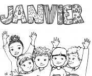 janvier debut annee enfants dessin à colorier