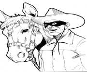 zorro et son cheval realiste dessin à colorier