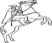 zorro sur son cheval dessin à colorier