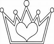 couronne avec un coeur dessin à colorier