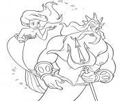 Roi Triton et sa fille Ariel dessin à colorier