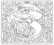 ariel petite sirene disney mandala dessin à colorier