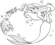 ariel la petite fille reve de decouvrir les merveilles cachees des oceans dessin à colorier