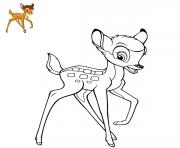 Coloriage bambi joue avec panpan et fleur dessin