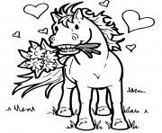cheval amoureux avec des fleurs dessin à colorier