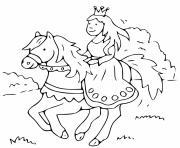 princesse et son cheval direction royaume dessin à colorier