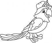 perroquet porte un jolie chapeau dessin à colorier