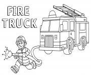 pompier au secours des citoyens pour le feu dessin à colorier
