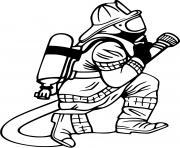 pompier realiste a genoux dessin à colorier