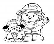 femme pompier et son chien pompier dessin à colorier