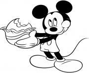 mickey mouse mange un chocolat oeuf de paques dessin à colorier