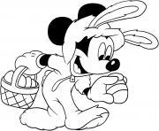 mickey mouse lapin oeuf de paques dessin à colorier