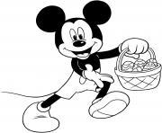 panier de oeufs de paques mickey disney dessin à colorier