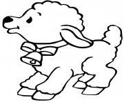 mouton avec une cloche dessin à colorier