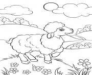 mouton dans la nature dessin à colorier