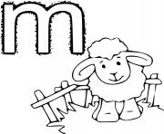 alphabet m pour mouton dessin à colorier