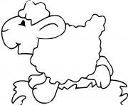 mouton en prairie dessin à colorier