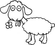 mouton mange une fleur dessin à colorier