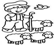 un fermier et ses moutons dessin à colorier