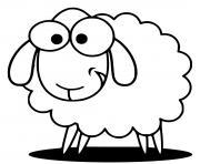 mouton rigolo avec le sourire dessin à colorier