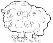 Wooloo Pokemon mouton dessin à colorier