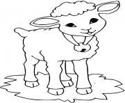 un mouton avec une cloche autour du cou dessin à colorier