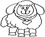 mouton avec un coeur dessin à colorier