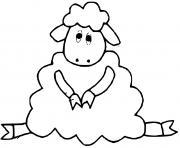 mouton assis dessin à colorier